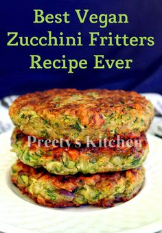 Add grated sweet potato or carrot. This recipe is easy and fritters taste crazy good , crispy on outside and creamy on the inside .These easy Zucchini Fritters are a delicio. Vegan Zucchini Fritters, Vegan Zucchini Recipes, Vegan Dinner Recipes, Vegan Foods, Vegan Dishes, Veggie Recipes, Whole Food Recipes, Vegetarian Recipes, Cooking Recipes