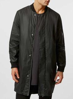 Rogues of London Black Longer Length Bomber Jacket