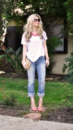 Jeans & a White T Outfit No. 13 ~ Ripped Up + Neon