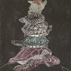 linocut 'Turtles all the way down'