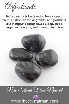 Arfvedsonite ~ Manifestation-Spiritual Growth-Positivity-Sleep-Negative Thoughts-Intuition Shop hundreds of new tumbled stones online now at The Crystal Man! Chakra Crystals, Crystals Minerals, Rocks And Minerals, Crystals And Gemstones, Stones And Crystals, Crystal Healing Stones, Crystal Magic, Quartz Crystal, Stone Quotes