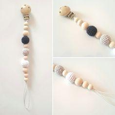 Attache sucette perles bois bio et naturelles
