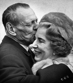 King Frederik IX of Denmark kissing his wife Queen Ingrid - love this photo...