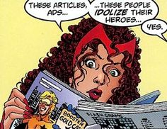 "Even more ""George Perez truly loves his job and Soooo Many of us too"" from JLA/Avengers #1.  (The Scarlet Witch and her off-screen brother Quicksilver © Marvel Comics/Entertainment, while Booster Gold & other stuff on the magazines © DC Comics [& thus Time Warner].)"