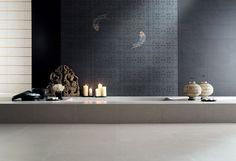 Porcelain stoneware wall tiles with textile effect AQUARIUM by NOVOCERAM
