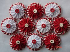 Peppermint Fabric yo yo Applique Embellishment Christmas Decoration. via Etsy.