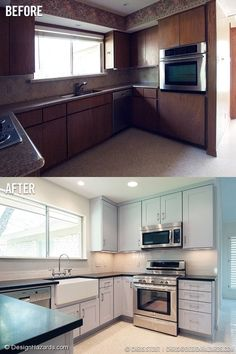 kitchen with terrazzo floors [This is a perfect example of forcing a style onto something a house clearly does not want.  Terrazzo and 70s brown do not mix!]
