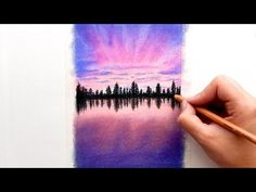 Timelapse | Drawing a Purple Sunset with Faber-Castell soft Pastels and Pitt pencils | Emmy Kalia - YouTube