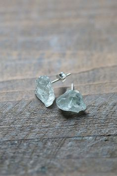 Raw Aquamarine Studs, Blue Earrings, Raw Crystal Earrings, Aquamarine Crystal…