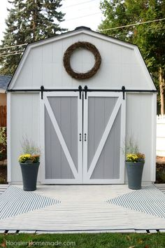SHE SHED -- This Farmhouse She Shed is AMAZING! Grab a cup