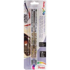 Gel Roller Fabric Pens 1mm 2/Pkg-Black