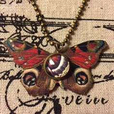 Peacock Butterfly With Glass Cabochon Wood Pendant by flytomeshop