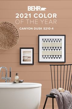 "Is it possible to make the most peaceful rooms in your home even more relaxing? With the right color, the answer is a resounding ""yes"". To help you make it happen, we'd like to introduce you to the BEHR® 2021 Color of the Year, Canyon Dusk S210-4. Its calm, warming terracotta tones will turn your next DIY project into a soothing success."