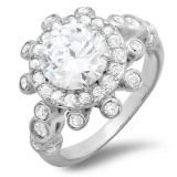 Share 2.50 CT Platinum Plated Cluster Flower Ladies Round Cut Cubic Zirconia CZ Engagement Ring (Available in size 6, 7, 8) - Dazzling Rock #https://www.pinterest.com/dazzlingrock/