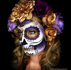 Sugar skull day of the dead ladies Halloween costume party make up Halloween Makeup Sugar Skull, Halloween Skull, Vintage Halloween, Skeleton Makeup, Halloween Costumes, Skeleton Costumes, Best Halloween Makeup, Candy Skull Makeup, Makeup Ideas
