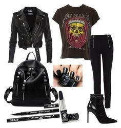 """Black"" by emo-trash-xd on Polyvore featuring MadeWorn, Karen Millen, Yves Saint Laurent, Manic Panic NYC and Kat Von D"