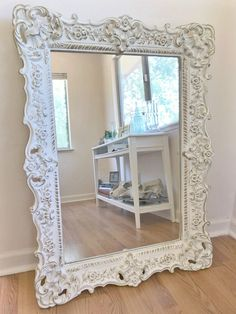 Hand painted in antique white and gold leaf. Can be used as a vanity mirror, entryway mirror, bedroom mirror or in your living or dining room. White Vintage Mirror, White Ornate Mirror, Baroque Mirror, Vintage Mirrors, Gold Mirrors, Baños Shabby Chic, Shabby Chic Mirror, Estilo Shabby Chic, Shabby Chic Bedrooms
