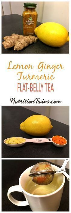 """Lemon Ginger Turmeric """"Detox"""" Tea   Flush Bloat, Help Prevent hunger & Overeating   Flood Body with Antioxidants, Mop up Toxins   For MORE RECIPES, fitness & nutrition tips please sign up for our FREE NEWSLETTER www.NutritionTwins.com & check out our 21-Day Body Reboot"""