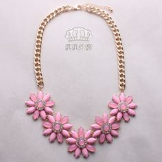 >> Click to Buy << flowers pink sweet lovely women jewelry Korean party big Vintage Bohemian simulated statement necklace girlfriend gift #Affiliate