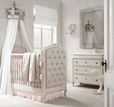 Pewter demilune canopy bed crown, $329 at RH Baby & Child