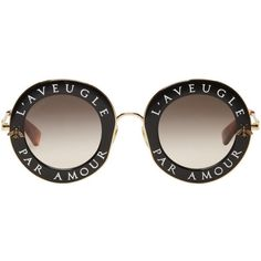 Gucci Black and Gold LAveugle Par Amour Sunglasses (2,090 ILS) ❤ liked on Polyvore featuring accessories, eyewear, sunglasses, black, gucci sunglasses, black and gold glasses, nose pads glasses, transparent glasses and gucci