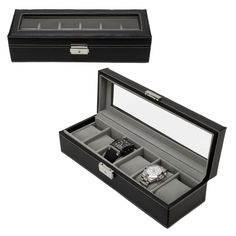 Watch Box 6 Mens Black Leather Display Glass Top Jewelry Case Organizer NULL
