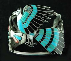 Masterfully crafted this beautiful bracelet has detailed inlay beyond compare. Hand fabricated by Master Zuni artist Dixon Shebola Zuni Jewelry, Bird Jewelry, Animal Jewelry, Silver Jewelry, Ethnic Jewelry, Gemstone Jewelry, Jewlery, Turquoise Cuff, Vintage Turquoise