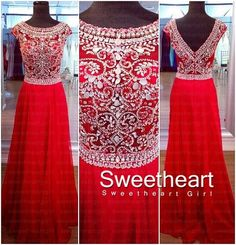 Sweetheart Girl | A-line round neckline Red Chiffon Long Prom Dresses, Formal Dress | Online Store Powered by Storenvy
