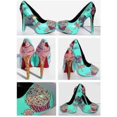 Cupcake and Ice Cream Heels With Swarovski Crystals and Glitter ($200) ❤ liked on Polyvore featuring shoes, pumps, silver, women's shoes, platform pumps, platform shoes, glitter pumps, skull pumps and high heel platform pumps