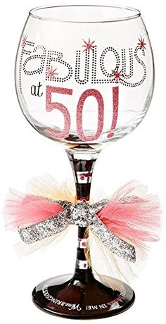 Mud Pie Fabulous at 50 Wine Glass * Read more at the image link.