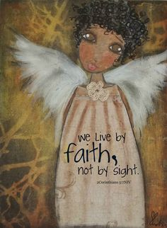 We live by FAITH not by sight Oni Angel card I Believe In Angels, My Guardian Angel, Black Angels, Angels Among Us, Angel Cards, Wow Art, African American Art, Black Art, Illustration