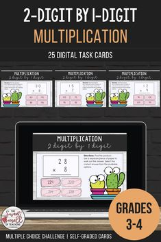 Develop your student's multiplication fluency. These fun digital task cards are great as a digital math center activity or to revise concepts. Students are asked to investigate each question. They will find the product and select the correct multiple choice answer. #multiplying2digitby1digit #multiplicationgrade4 #multiplicationgrade3 #multiplydoubledigits #multiplicationgames #multiplicationactivities #multiplication2digitby1digitgames #distancelearningelementary #sweetsmellofteaching