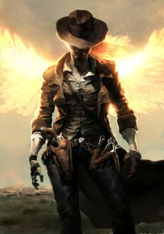Flaming wings lady gunslinger by Robert Sammelin