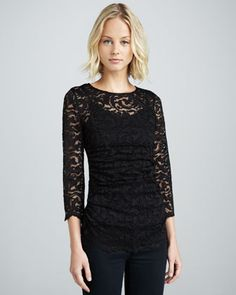Long-Sleeve Stretch Lace Top by Velvet by Graham  Spencer at Neiman Marcus.