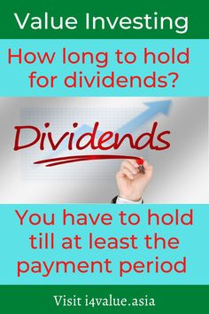 There are 2 ways to make money from the stock market. You can aim for capital gain or dividends. But to enjoy dividends you have to identify profitable companies that have a history of paying dividends. Next your holding period has to cover the date when the dividends are actually paid. You may find that in some cases, the price may have shot up that if you wait for the dividend payment, the price may drop. #i4value #learntoinvest #valueinvesting #stockmarket #investment Value Investing, Investing In Stocks, Fundamental Analysis, Technical Analysis, Dividend Investing, Behavioral Issues, Capital Gain, Asset Management, Way To Make Money