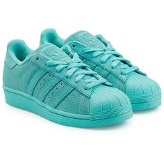 Adidas Originals Leather Superstar Sneakers (£56) ❤ liked on Polyvore featuring shoes, sneakers and turquoise