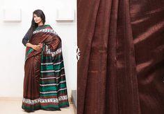 Silk Sarees - Bold brown hand screen printed Raw silk saree with tribal art work PC 16656 - Main