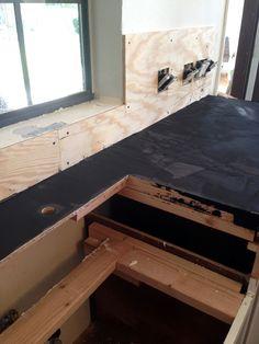 Black Concrete Countertops - Juniper Home Grey Granite Countertops, Diy Concrete Countertops, Bathroom Countertops, Kitchen Facelift, Brick Molding, Small Kitchen Organization, Stone Backsplash, Kitchen Remodel, Kitchen Reno