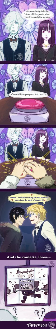 Death Parade Comic by TaffyDesu on DeviantArt - Durarara and Death Parade crossover
