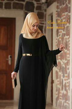 #tabassum ara Hijab Evening Dress, Hijab Dress Party, Hijab Style Dress, Modest Fashion Hijab, Abaya Fashion, Fashion Dresses, Mode Niqab, Mode Abaya, Lovely Dresses