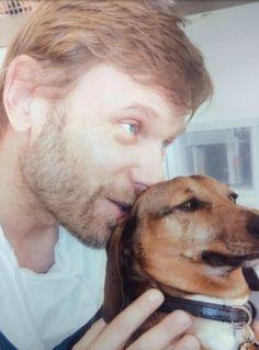 Mark Pellegrino with his pup #cuteness