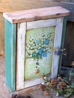Wooden Key Hook Tidy Flower Print Set Of 4 Garden Theme Shabby Chic