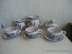 Juego de cafe o merienda, artesanal de cerámica murciana FIRMA EL POVEO