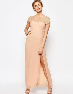 Image 1 ofElise Ryan Scalloped Lace Maxi Dress with V Back
