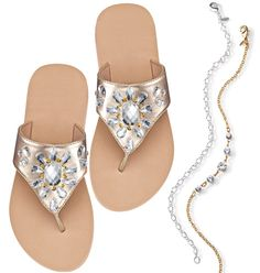 3bb73aa64025df Glittering Goddess Anklet   Teardrop Embellished Flip Flop Set Stylish  Sandals