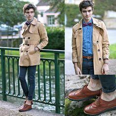 Mustard Trench Coat, Selected Leo Shirt, Asos Skinny Jeans, Premium By Jack & Jones Shoes