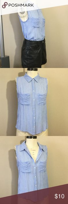 Abercrombie & Fitch Striped Collared Tank Top Great pre-owned condition! This preppy silhouette gets an edgy twist with raw edge detailing along the armholes and back yoke. Drapey blue/white woven pinstripe fabric. Wear buttoned up or open, tucked in or out!  Size XS by Abercrombie & Fitch  Check out my other listings and bundle for extra savings! Abercrombie & Fitch Tops Tank Tops