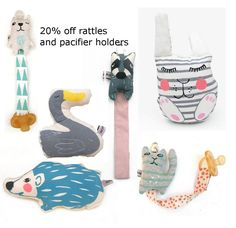 20% off rattles and pacifier holders over on my etsy shop Code; RATTLE Ends Friday https://www.etsy.com/dk-en/shop/normadot?coupon=RATTLE