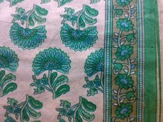 Indian Cotton Fabric Block Print Off  White Turquoise by RaajMa