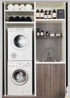 Great way to be most effective using a closet for a laundry room in a condo or townhouse.